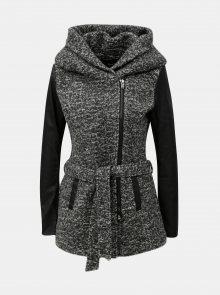 Šedý žíhaný kabát s příměsí vlny ONLY Lisford