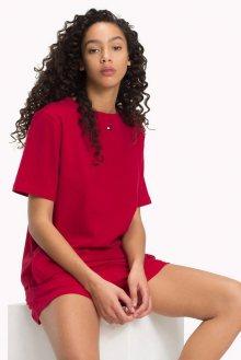 Tommy Hilfiger červené tričko BN TEE HALF Chilli Pepper s logem - XS