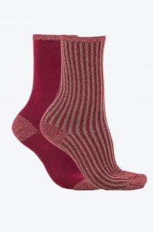 Tommy Hilfiger vínovo-zlatý 2 pack ponožek Glitter  - 35-38