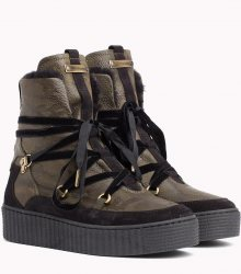 Tommy Hilfiger khaki kožené boty Cozy Warmlined Leath s kožíškem - 40