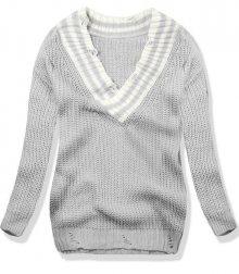 Světle šedý svetr s véčkovým výstřihem