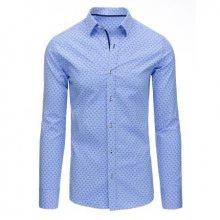 Světle modrá pánská košile se vzorem s dlouhým rukávem