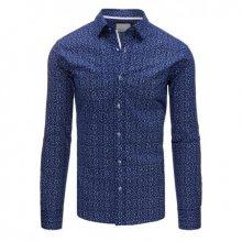 Tmavě modrá pánská košile se vzorem s dlouhým rukávem