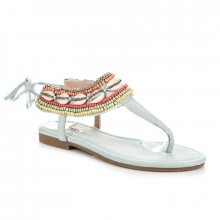 Efektivní modré vázané sandály s etnickým vzorem