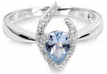 Silver Cat Stříbrný prsten s modrým krystalem SC115 56 mm