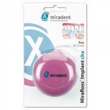Miradent Svitek antibakteriálního vlákna Mirafloss Implant chx 50 ks Střední modré