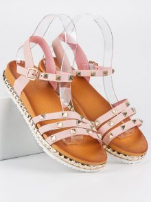 Originální růžové páskové sandály se cvočky