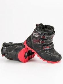 Nádherné černé chlapecké zimní boty na suchý zip