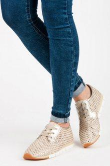Netradiční béžové tenisky s lesklým vzorem