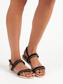 Semišové cerné ploché sandály