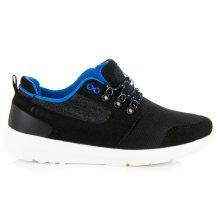 Lehké černé pánské tenisky s modrým lemováním