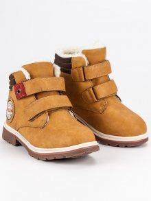 Pohodlné hnědé chlapecké boty na suchý zip