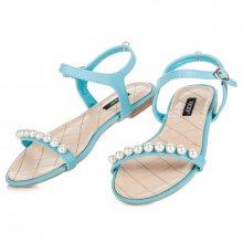 Ploché modré sandály s korálky