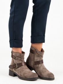 Dámské hnědé kotníkové boty