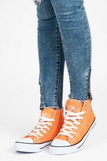 Stylové oranžové kotníkové tenisky