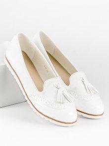 Elegantní bílé mokasíny s třásněmi