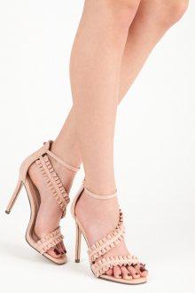 Originálně řešené růžové sandály na jehlovém podpatku