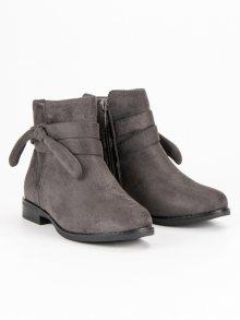Dívčí šedé kotníkové boty