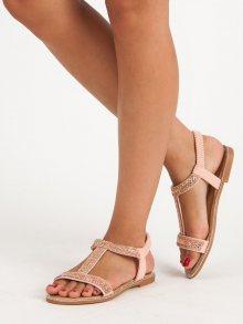 Elegantní růžové sandály s gumičkou