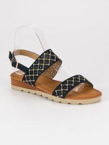 Ažurové modré ploché sandály