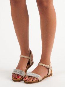 Ploché béžové sandály