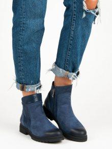 Pohodlné modré kožené botky