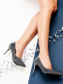 Luxusní semišové šedé lodičky na jehlovém podpatku