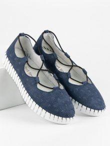 Kožené modré baleríny na pohodlné podrážce
