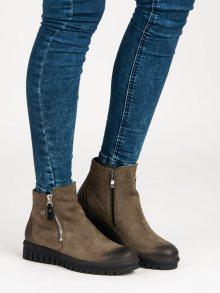 Nízké khaki kožené botky na zip