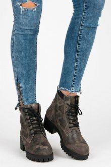 Zelené kotníčkové boty - vojenský design