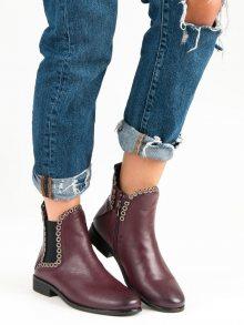 Vínové kotníkové boty na zip