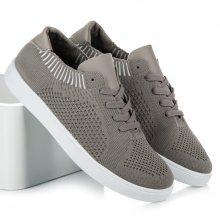 Pohodlné textilní tenisky v šedé barvě
