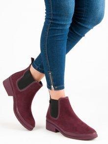 Krásné vínové kotníkové boty