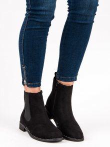 Elegantní černé kotníkové boty s elastickými vsadkami