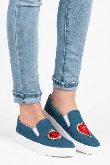 Bombastické modré džínové tenisky s potiskem srdce
