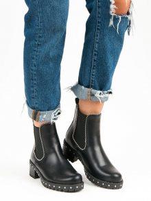 Rockové černé kotníkové boty