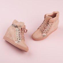 Stylové růžové sneakery s tkaničkami