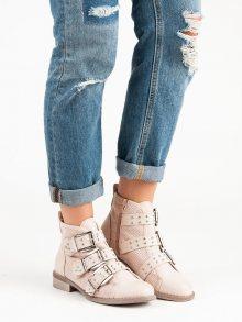 Světlé růžové botky s přezkami