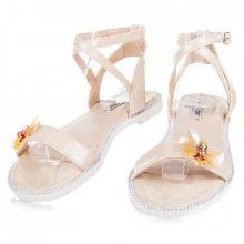 Lakované béžové sandály s motýlkem