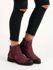 Pohodlné kožené vínové kotníkové boty