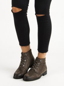 Stylové khaki kotníkové boty s vázáním