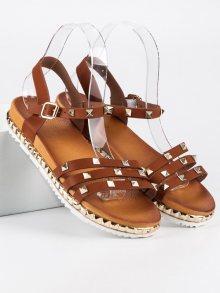 Originální hnědé páskové sandály se cvočky