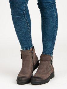 Nízké hnědé botky na zip