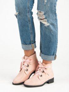 Skvělé růžové kotníkové boty vázané stužkou