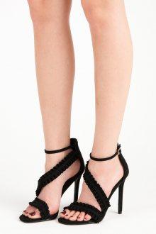 Originálně řešené černé sandály na jehlovém podpatku