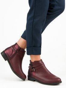 Nízké vínové kotníkové boty