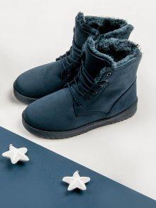 Teplé modré semišové boty