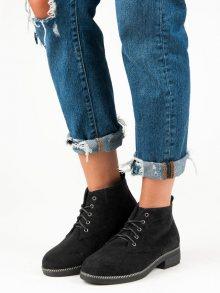 Šněrovací černé semišové kotníkové boty