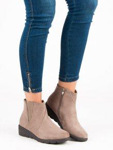Semišové béžové botky na zip