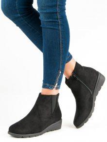 Luxusní černé semišové botky